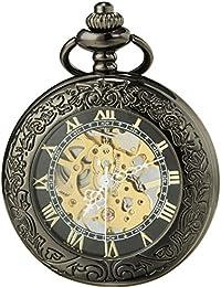 SEWOR Vintage lupa esqueleto reloj de bolsillo negro caso mecánica mano viento