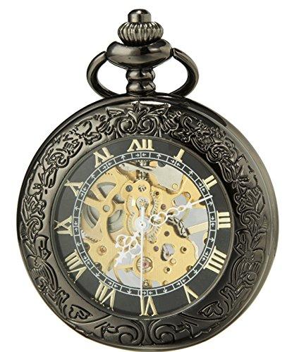 SEWOR Vintage Magnifier Skeleton Pocket Watch Mechanical Hand Wind Pocket Watch Include Brand Leather Box (Black Gold)