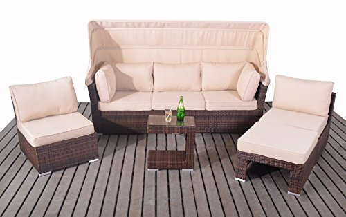 Polyrattan Gartenlounge Sonneninsel rattan Lounge Set Sofaset Florida braun Lounge Möbel Terrasse und Garten Gartenbank wetterfest Ecksofa Doppelliege mit Dach Tolle Loungemöbel