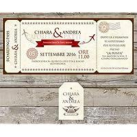 Partecipazioni matrimonio personalizzate - inviti nozze biglietto aereo vintage boardingpass disponibile in tutti i colori 10 pezzi