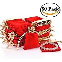 50 bolsas de terciopelo con cordón para regalo para mujer, boda, fiesta de ducha, 10 x 7 cm, color rojo