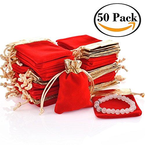 50stk. Samt Taschen Kordelzug Schmuck Geschenkbeutel für Frauen Hochzeit Bridal Shower Party Favor 4,0