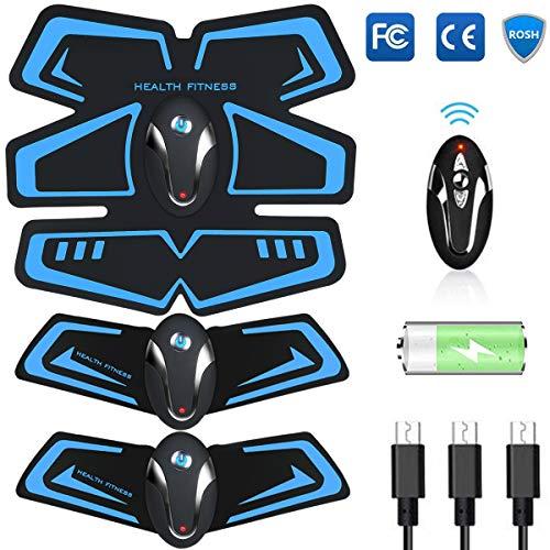 EGEYI Electroestimulador Muscular Abdominales Cinturón,Masajeador Eléctrico Cinturón con USB,EMS Ejercitador del Cuerpo de los Músculos de Brazos y piernas para Hombre Mujer