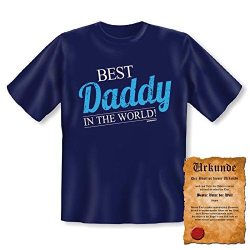 orginelles und witziges T-shirt mit Urkunde/ Vatertag Farbe: navy-blau + BEST Daddy IN THE WORLD! + Navy-Blau