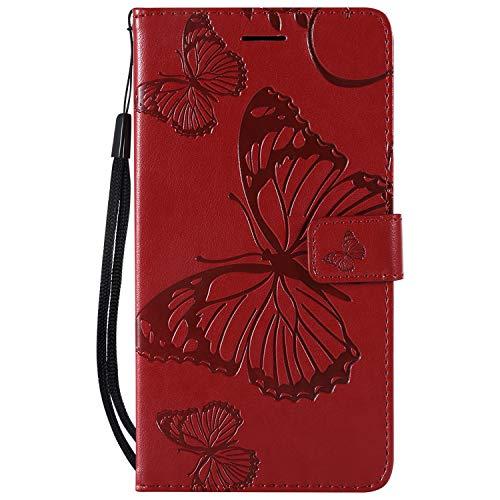 NEXCURIO [Sony Xperia XZ2 Premium] Hülle Leder, Handyhülle Tasche Leder Flip Case Brieftasche Etui mit Kartenfach Stoßfest Kratzfest Schutzhülle für Sony Xperia XZ2 Premium - NEKTU13999 Rot