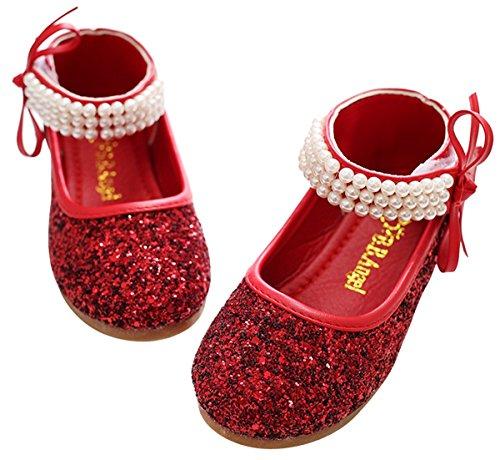 Mädchen Mary Jane Halbschuhe Prinzessin Paillette Ballerina mit Perlen Riemchen Klettverschluss Festliche Glitzer Schuhe - Rot Größe 30 (Glitzer Rote Ballerinas)