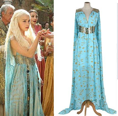 Vivian Halloween A Song of Ice and Fire Game of Thrones Daenerys Targaryen Mother vestito fatto Cosplay Costume (Può essere personalizzato),taglia L (altezza 165-170 cm,60-70 kg)
