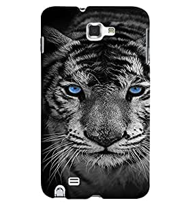 Fuson Premium Blue Eyed Tiger Printed Hard Plastic Back Case Cover for Samsung Galaxy Note 1 i9220 N7000