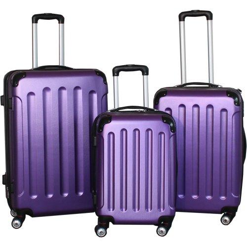 BERWIN® Kofferset 3-teilig Reisekoffer Trolley Hartschalenkoffer ABS Teleskopgriff (Lila) (M&ms Und Lila Grün)