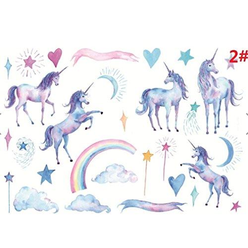 Kingus Cute Unicorn Wandaufkleber Sterne Blätter Regenbogen Fantasy Märchen Wand Nursary Decal für Kinder Kinder Schlafzimmer Decorartion, Party Kunst & Handwerk Spielzeug, Pentagram Mond