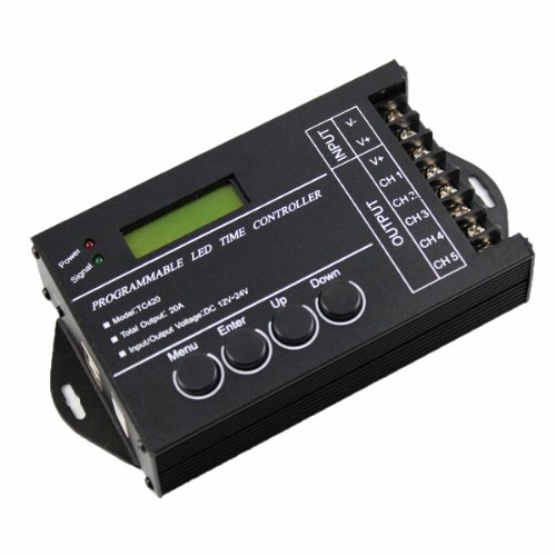 niceeshop(TM) DC12-24V 20A 240W Multifunktion LED Programmierbar Timer Dimmer Controller für RGB RGBW Dual Farbe Oder Single Farbe LED Leuchten, Schwarz (Timer Und Dimmer)