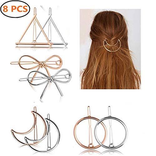8 Pcs Or argent cheveux Clips pinces en métal, Creux géométriques métalliques épingle, Triangulaire Circulaire Lune Nœud pa