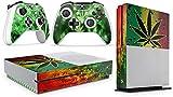 giZmoZ n gadgetZ GNG Xbox One S Konsolen-Gehäuseaufkleber, Motiv: Weed inklusive 2er-Set mit Aufklebern für Controller