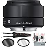 Sigma 30mm F2.8 DN Lens For Sony E-Mount Cameras (Black) With Xpix Deluxe Cleaning Kit And Accessory Bundle