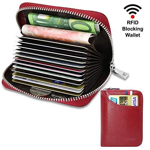 Kartenhalter Geldbörse Leder RFID Schutz Damen Kreditkartenetui Herren mit 13 Karten & 2 Geld Münzfach Fächer Geldbeutel Portable Portemonnaie Klein für Männer und Frauen (Litschi Rot) -