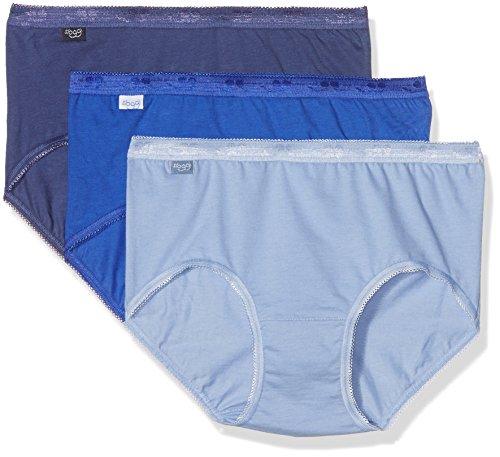 Sloggi Damen Unterrock Blau (1 Bleu gris + 1 Bleu marine + 1 Bleu clair)