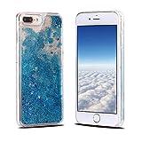 iPhone 8 Plus Hülle, iPhone 7 Plus Schutzhülle, RosyHeart Transparent Handy Case Cover für iPhone 7 Plus/8 Plus (5.5 Zoll) - Dynamisch Treibsand Liquid Fließen Flüssig Schale Tasche Ultradünnen Etui - Blau und Sterne
