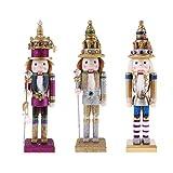 perfk 3pcs Klassische 30cm hohe hölzerne Nussknacker Soldat Figuren Puppen Spielzeug
