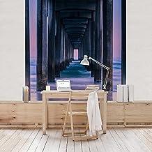 fotomural premium muelle en la puesta del sol mural cuadrado papel pintado fotomurales