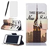 Ipod Touch 5 Hülle in-New York City , Lotuslnn Ipod Touch 5 Leder Tasche Schutzhülle(Hülle+ Stylus Stift+Screen Protector)