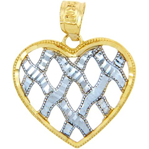 14 quilates 585/1000 Oro Oro con dos cintas de cuello tono Corazón Colgante de amor (Libro Con Cadena 45cm)