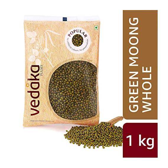 Amazon Brand - Vedaka Popular Green Moong Whole/Sabut, 1 kg