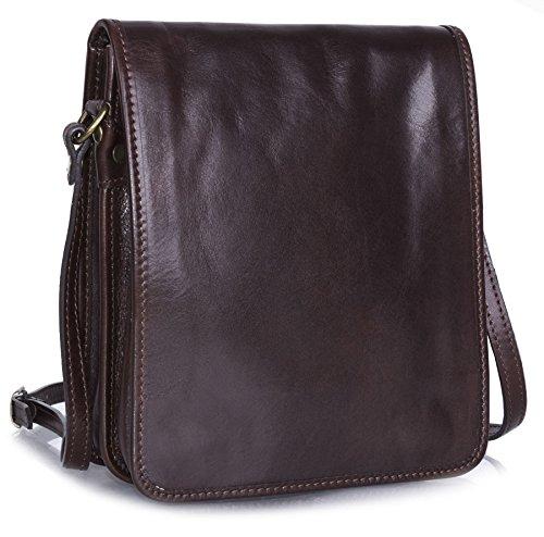 Big Shop da uomo in vera pelle borsetta tracolla lavoro ufficio borsa a tracolla Coffee - Small Size