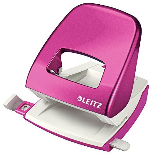 Leitz 50081023 Locher (30 Blatt, Anschlagschiene mit Formatvorgaben, Metall, WOW) metallic pink