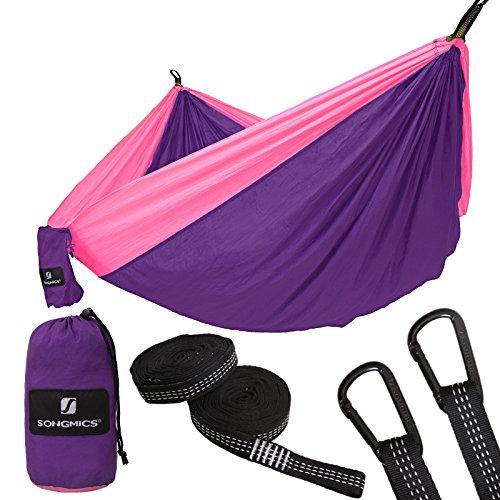 SONGMICS Hängematte, Ultraleicht, tragbar und atmungsaktiv, für 2 Personen, aus Fallschirm Nylon, 275 x 140 cm, mit Premium Befestigung, für Reise Outdoor Camping Garten GDC14PK