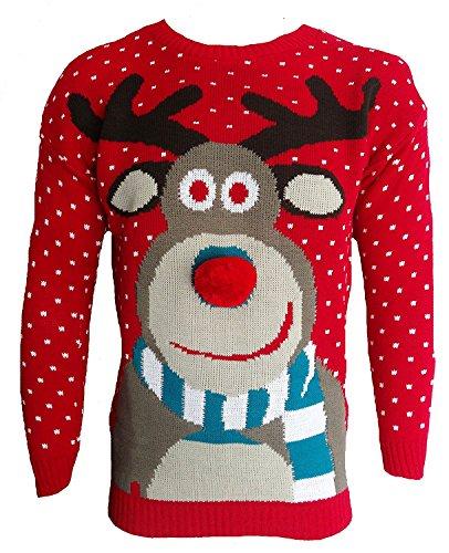 Jersey navideño 3D Blush Avenue® para hombre y mujer, con diseño de Rudolph el reno, de punto RED POM POM NOSE XX-Large