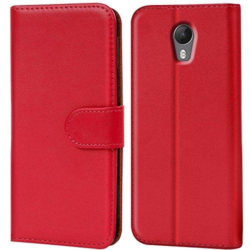 Verco Jerry 2 Hülle, Handyhülle für Wiko Jerry 2 Tasche PU Leder Flip Case Brieftasche - Rot
