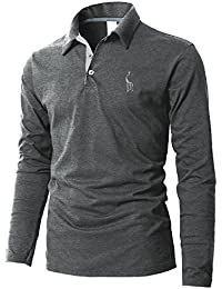 Boom Fashion Polo Homme Manches Longues Vintage Broderie T-Shirt Mince Fit Tops