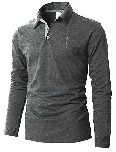 Boom Fashion Poloshirt Herren Langarm Einfarbig Polo Kragen Freizeit für Männer Grau XXL (Herren Kragen Shirt Xxl)