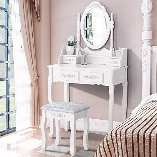 mecor Schminktisch Weiß Kosmetiktisch Frisiertisch Frisierkommode mit Hocker & Spiegel & 4 Schubladen weiß