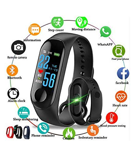 Pc M3 Bluetooth Fitness Smart Watch and Health Band/Smart Fitness Band Compatible for All Device