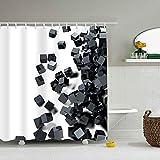 Hotyle Cube Astratto Tenda per Doccia Fodera Idrorepellente a Prova di ruggine Occhielli Design Effetto 3D Tenda da Bagno Impermeabile