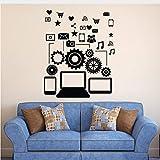 Pegatinas de pared Redes sociales Comunicación Gadgets Pegatinas Dormitorio Pegatinas Niños Arte Deco Pegatinas Decoración para el hogar Decoración de pared 58x47cm