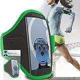 iTALKonline Samsung i9600 Galaxy S5 SV Plus Vert Noir réglable eau / résistant à l'humidité Sport GYM Jogging Arm Band Brassard couverture de cas avec l'argent de poche casque Key