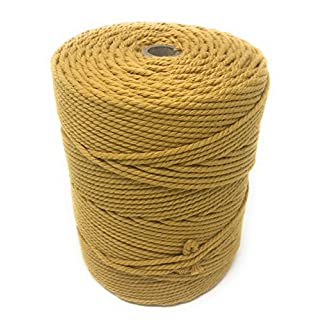 Whimsy Designs Macrame Craft Cord Rope 3mm mustard golden yellow 100% Cotton Reel – piping cord, washing line, piping cord, furniture wrapping, plant hangers, wall hangings (mustard 3mm)