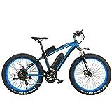 XF4000 Elite 1000W puissant vélo électrique, 26 pouces Fat Bike, fourche à suspension, vélo de neige VTT, batterie au lithium E vélo (Noir Bleu, 1000W + 1 batterie épargnée)