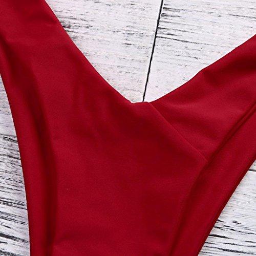 OHQ Costumi Da Bagno Di Moda Donne Costumi Da Bagno Costumi Da Bagno A Vita Bassa Costumi Da Bagno Sexy Costume Da Bagno Senza Spalline In Tulle Con Perizoma In Tulle A Fascia Rosso