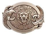 Gurscour Moda Occidental Antigüedad Plateado Grabar Flor 3D León Hebillas de Cinturón