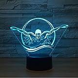 Luci Notturne Raffreddare Nuoto Persone 3D Led Night Light Indoor Luce 7 Colori Modificabili Touch Sensor Control Usb Lampada Da Tavolo Regalo Per Gli Amici