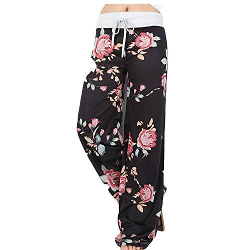 Hibote Frauen Blumendruck Yoga Hose - Plus Size Casual Fashion Drawstring Wide Leg Palazzo Hosen Schwarz/XXXL - Wide-leg-reise-hose