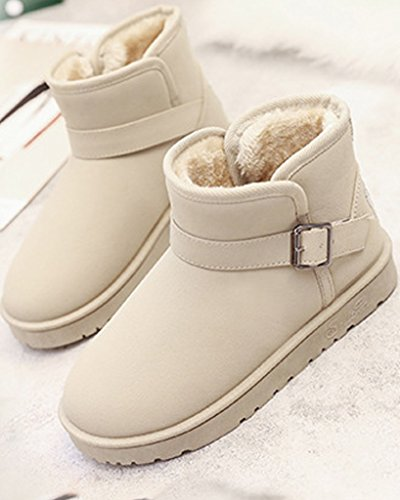 Minetom Damen Winter Baumwolle Stiefel Beiläufig Knöchel Schuhe Boots Plüsch Gepolstert Schnee Stiefel Mit Schnalle Beige