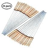 24Bastoncini per spiedini riutilizzabile in acciaio inox con manico in legno, ideali per barbecue, lunghezza 30cm