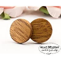Ø11mm Holz Ohrstecker Extra Dünn braun Recycling Mahagoni Holz Fake Plugs Ohrringe hölzerne Mini Ohrring kleine runde Holzohrstecker wooden earrings wood post studs Damen Ohrstecker Männer