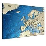 LANA KK Europakarte Leinwandbild englisch Kunstdruck Pinnwand auf Echtholz, blaues Meer, 120 x 80 cm