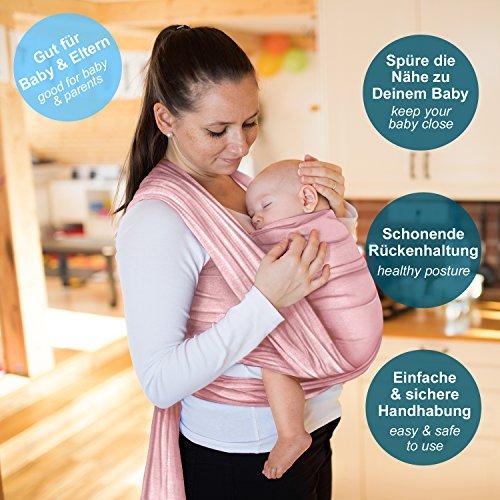 Babytragetuch aus 100% Baumwolle - Rosa – hochwertiges Baby-Tragetuch für Neugeborene und Babys bis 15 kg – inkl. Aufbewahrungsbeutel und GRATIS Baby-Lätzchen – liebevolles Design von Makimaja® - 2