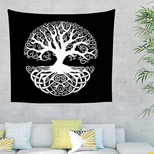 Tapiz de pared negro y blanco, diseño celta del árbol de la vida, étnico, vikingo, yggdrasil, tatuaje, tapiz de pared, mural nórdico 200x150cm blanco